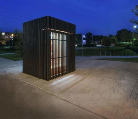 image, طراحی جالب یک کتابخانه کوچک و مدرن در پارک های عمومی