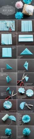 image آموزش تصویری و کامل ساخت گل تزیینی کادو با دستمال کاغذی