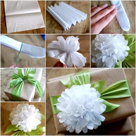 image آموزش تصویری ساخت گل کاغذی برای تزیین جعبه کادو