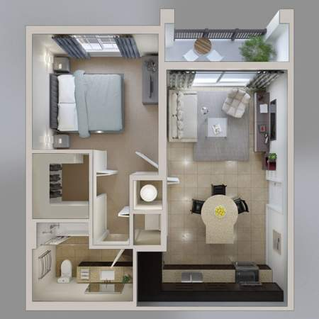 image, نقشه های معماری خلاقانه آپارتمان های کوچک یک خوابه
