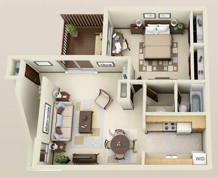 image نقشه های معماری خلاقانه آپارتمان های کوچک یک خوابه