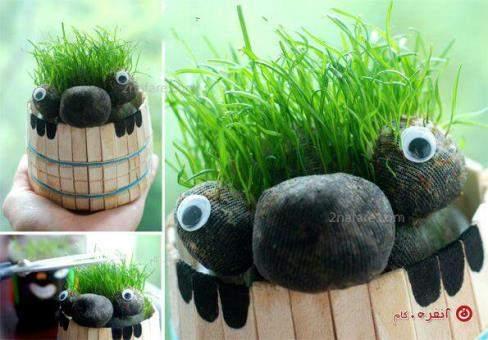 image آموزش کاشت و درست کردن سبزه عید شکل عروسک بامزه