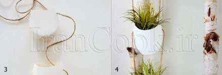 image آموزش تصویری ساخت گلدان های ساده آویز در خانه