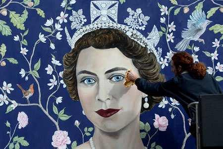 image, نقاشی ملکه الیزابت دوم به مناسبت نودمین سالگرد تولد او