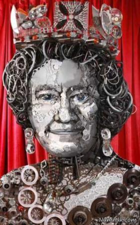 image, مجسمه جالب الیزابت دوم ساخته شده از هشتصد قطعه خودرو