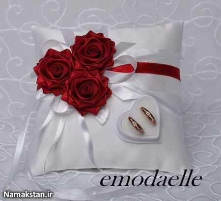 image مدلهای زیبای تزیینات جای قرارگیری حلقه عروس و داماد