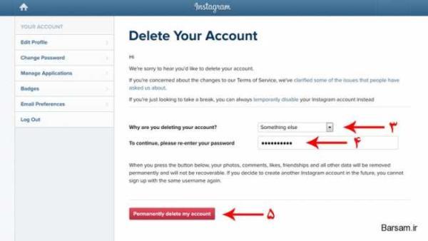 image آموزش تصویری حذف کردن حساب اینستاگرام با تمام عکس ها برای همیشه