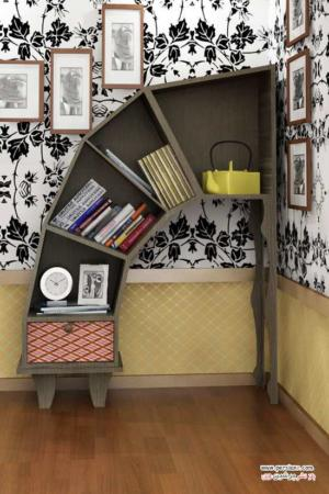image ایده های جالب و شیک کتابخانه برای سالن های پذیرایی در آپارتمان
