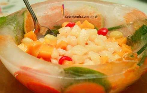 عکس, آموزش تصویری درست کردن ظرف یخی برای سرو میوه در مهمانی