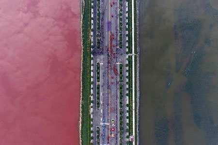 image, نمای زیبای هوایی جاده ای کنار دریاچه با جلبک های رنگی
