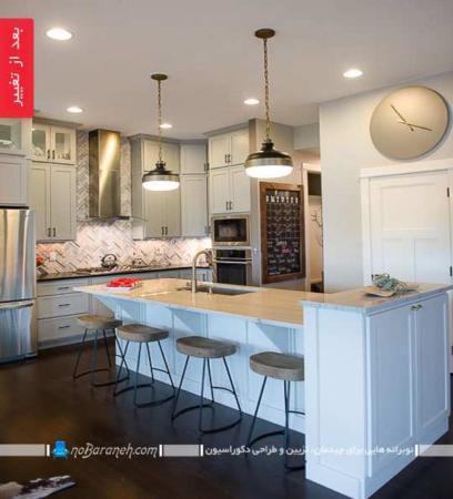 image عکس تغییر دکوراسیون کامل آشپزخانه با رنگ تیره به روشن