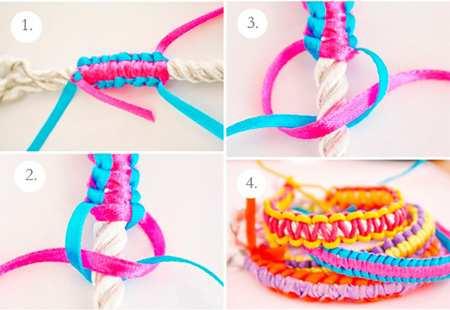 image, آموزش بافت دستنبدهای شیک و رنگی کاموایی با عکس