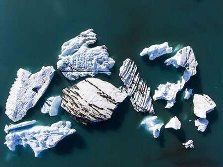 image, تصویر دیدنی کوه های یخی در ایسلند از بالا