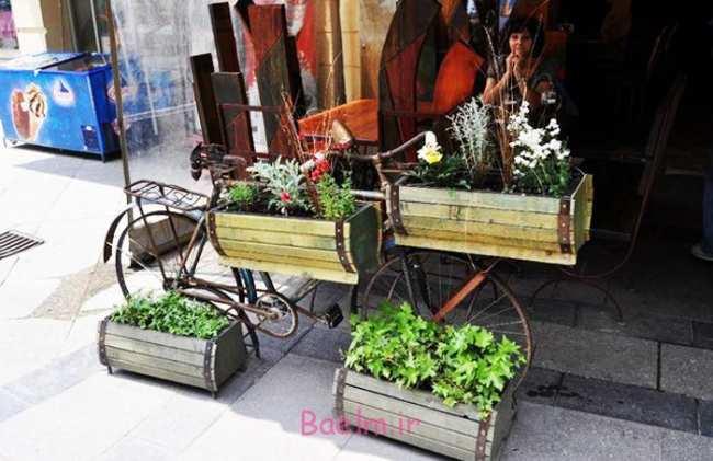 image ایده های دیدنی از ساخت وسایل زیبا با دوچرخه های قدیمی