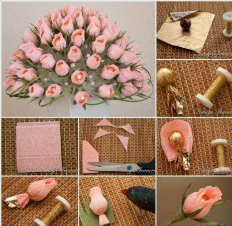 image آموزش عکس به عکس ساخت دسته گل رز زیبای مصنوعی