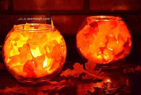image ساخت شمع های زیبای پاییزی با شیشه ها و مواد دور ریختنی