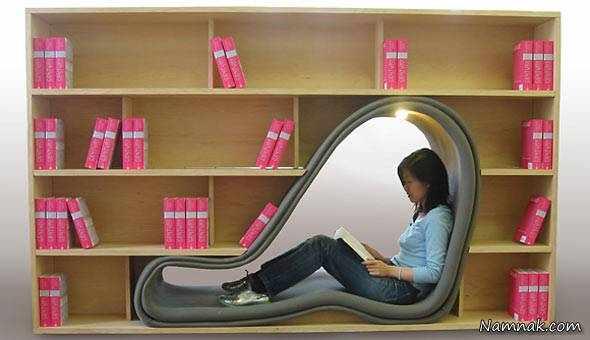 image طراحی های زیبای صندلی کتابخوانی و کتابخانه برای فضاهای کوچک