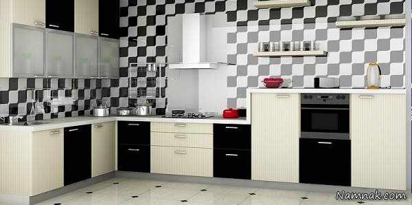 image عکس جدیدترین مدل های کابینت آشپزخانه ترکیب رنگ مشکی سفید