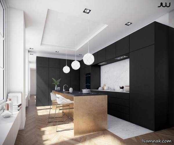 image, عکس جدیدترین مدل های کابینت آشپزخانه ترکیب رنگ مشکی سفید