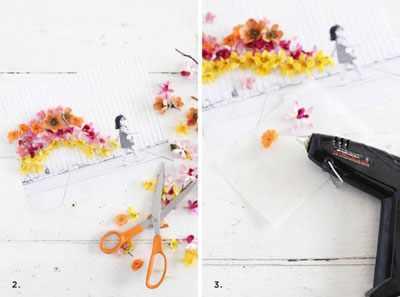 image آموزش تزیین عکس چاپی با گل های مصنوعی پلاستیکی