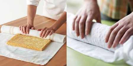 image, چطور با مهارت خمیر کیک کوکو کتلت و رولت را رول کنیم