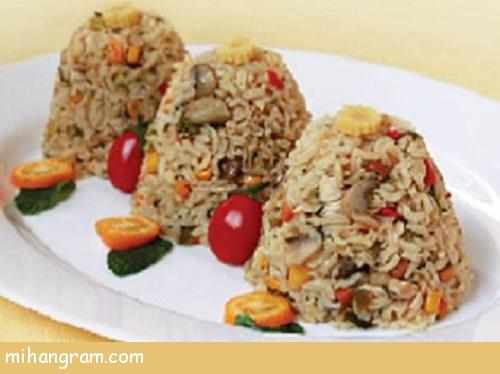 image آموزش پخت پلو سبزیجات مجلسی با برنج قهوه ای