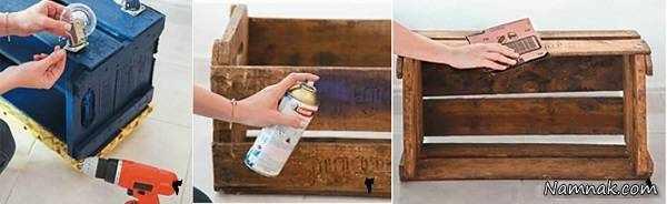image آموزش تصویری ساخت جاکفشی شیک با جعبه چوبی قدیمی