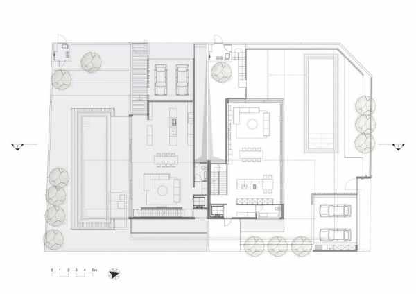 image طراحی شیک خانه ویلایی با استخر همراه با نقشه کامل