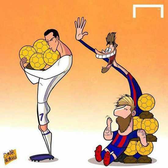 image کاریکاتور دیدنی کسب چهارمین توپ طلا توسط رونالدو