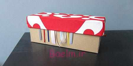 image آموزش ساخت جعبه روبان خیاطی با جعبه های کهنه