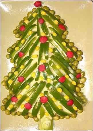 image آموزش تصویری تزیین سالاد الویه برای جشن کریسمس