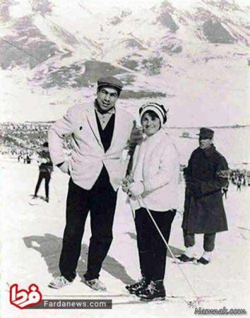 image عکسی دیدنی از اسکی جهان پهلوان تختی و همسرش