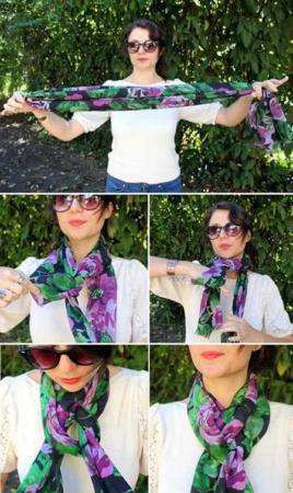 image آموزش تصویری بستن شال گردن مدل شیک برای خانم ها