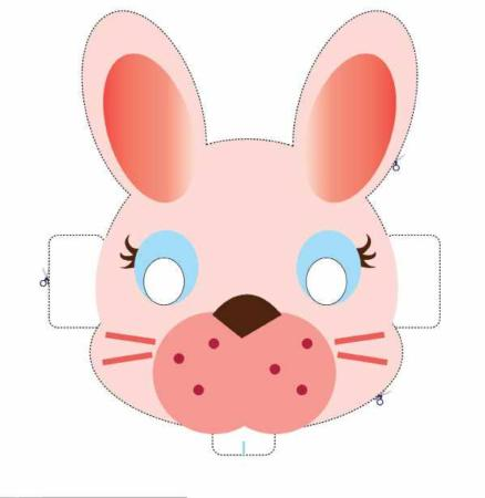 image, آموزش ساخت ماسک خرگوشی برای بچه ها با الگوی کار