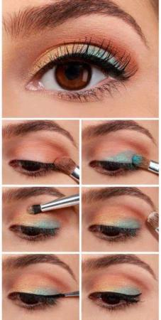 image, آموزش تصویری سایه زدن چشم ترکیب رنگ مسی آبی