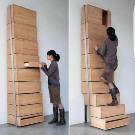 image ایده خلاقانه ساخت کمد با ارتفاع بلند با دسترسی آسان