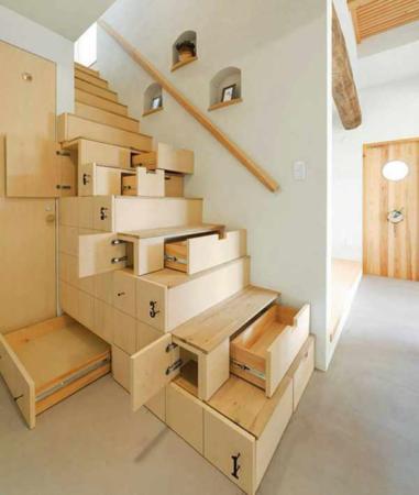 image ایده جالب ساخت راه پله با کشوهای کاربردی برای خانه های کوچک