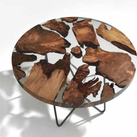 image, طراحی زیبای میز مدرن جلو مبلی ترکیب چوب طبیعی و شیشه