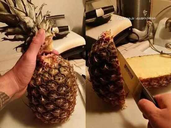 image, آموزش تصویری روشی ساده برای خرد کردن و پوست گرفتن آناناس