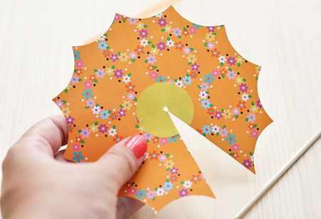 image آموزش تصویری ساخت چتر کوچک کاغذی برای تزیین بستنی