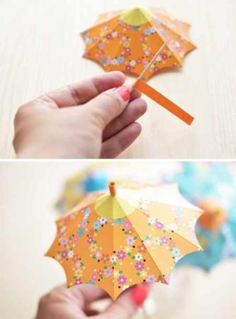 image, آموزش تصویری ساخت چتر کوچک کاغذی برای تزیین بستنی