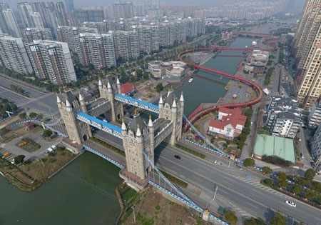 image, عکس پل الهام گرفته از پل برج لندن در شهر جیانگسو چین