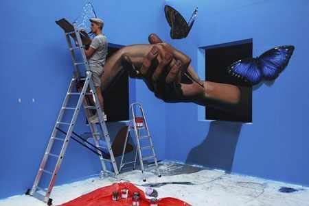 image, تصور نقاش روس در حال خلق نقاشی سه بعدی