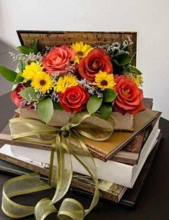image آموزش تصویری ساخت سبد گل با صندوقچه تزیینی قدیمی