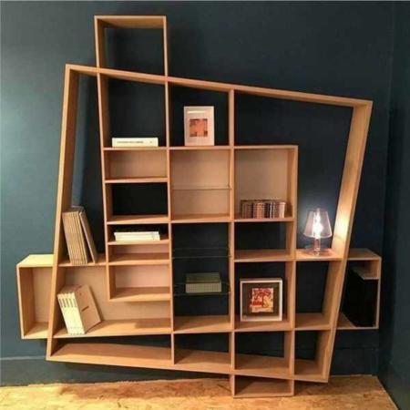 image, طراحی مدرن و فوق العاده شیک و خاص کتابخانه دیواری چوبی