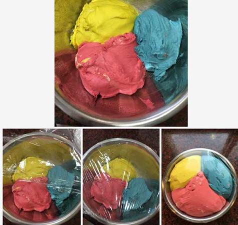 image, آموزش پخت تصویری نان های رنگی مخصوص بچه ها