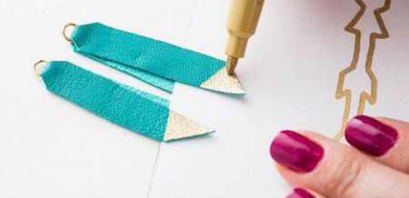 image آموزش تصویری درست کردن گوشواره های زیبای چرمی