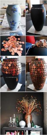 image آموزش تصویری تزیین گلدان ساده سفالی با سکه
