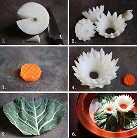 image, آموزش درست کردن گل نیلوفر آبی با پیاز برای تزیین سفره