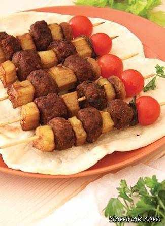 image, آموزش درست کردن کباب مرواریدی گوشت و بادمجان